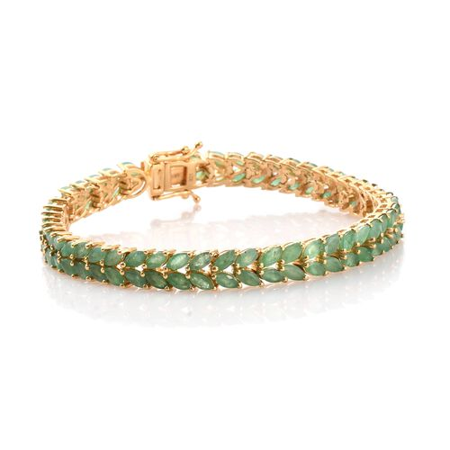 Limited Edition- AAA Kagem Zambian Emerald (Mrq) Bracelet (Size 7.5) in 14K Gold Overlay Sterling Silver 13.000 Ct. Silver wt 15.93 Gms.