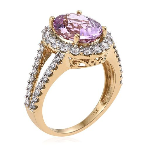 ILIANA 18K Y Gold AAAA Brazilian Kunzite (Ovl 5.50 Ct), Diamond (SI/G-H) Ring 6.750 Ct.