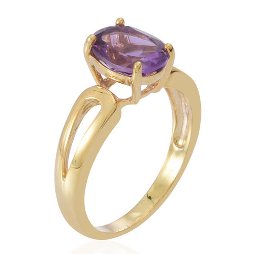 Amethyst (Ovl) Solitaire Ring in Yellow Gold Overlay Sterling Silver 2.250 Ct.