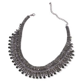 AAA Grey Austrian Crystal Waterfall Necklace (Size 20 with 2 inch Extender) in Black Tone