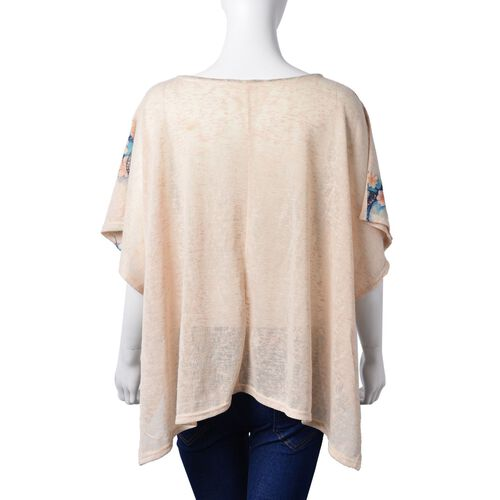 Blue Colour Butterfly Pattern Off White Colour Poncho with Tassels on Neck (Size 85X60 Cm)