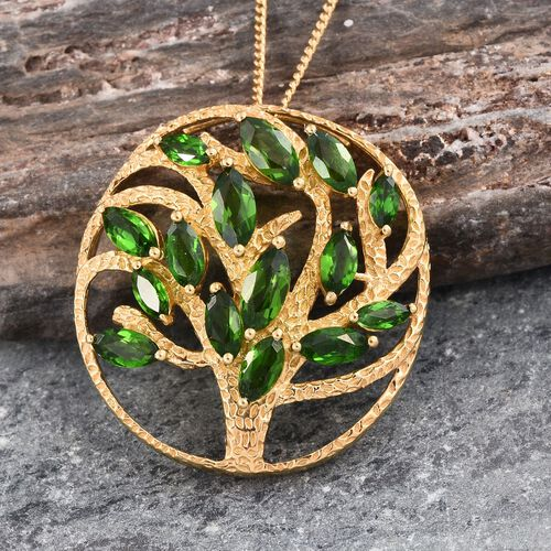 GP Russian Diopside (Mrq), Kanchanaburi Blue Sapphire Tree Pendant With Chain in 14K Gold Overlay Sterling Silver 2.750 Ct.