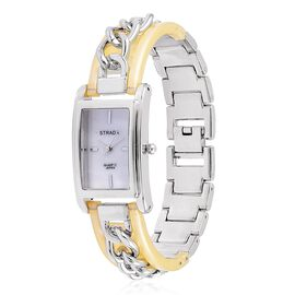 New Arrival - STRADA Genuine Mother of Pearl Japanese Movement Watch in Silver Tone with Gold Colour Curb Chain Strap
