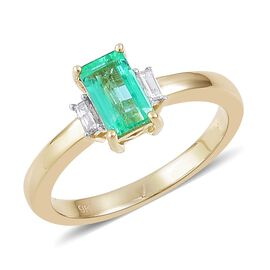 9K Yellow Gold Boyaca Colombian Emerald (Oct 1.05 Ct), Diamond Ring 1.150 Ct.