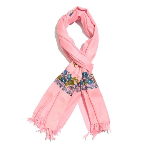 One Time Deal-100% Merino Wool Pastel Pink, Blue and Multi Colour Floral Embroidered Scarf with Tassels (Size 190X70 Cm)