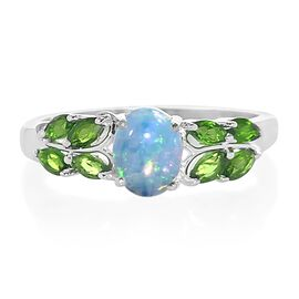 Ethiopian Welo Opal (Ovl), Russian Diopside Ring in Sterling Silver 1.500 Ct.
