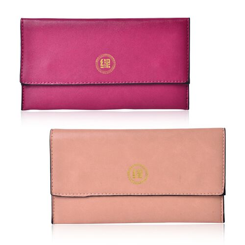 Set of 2 - New Season YUAN COLLECTION Fuchsia and Peach Colour Clutch (Size 21x12 Cm)