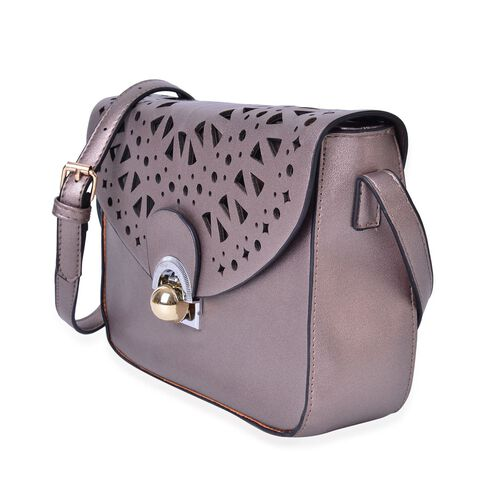 Metallic Silver Colour Lazer Cut Pattern Crossbody Bag with Adjustable Shoulder Strap (Size 23.5X17X6.5 Cm)
