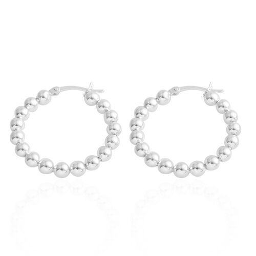 Sterling Silver Beaded Hoop Earrings (with Clasp), Silver wt. 4.40 Gms.