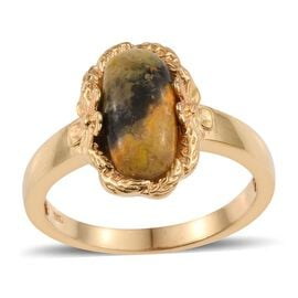 Bumble Bee Jasper (Ovl) Solitaire Ring in 14K Gold Overlay Sterling Silver 3.750 Ct.