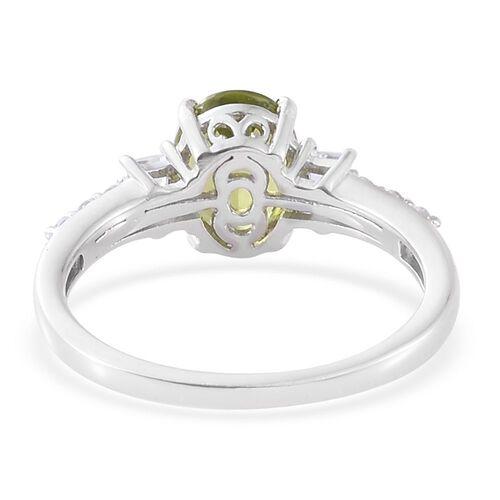 Hebei Peridot, White Topaz 2.90 Ct Silver Ring in Platinum Overlay