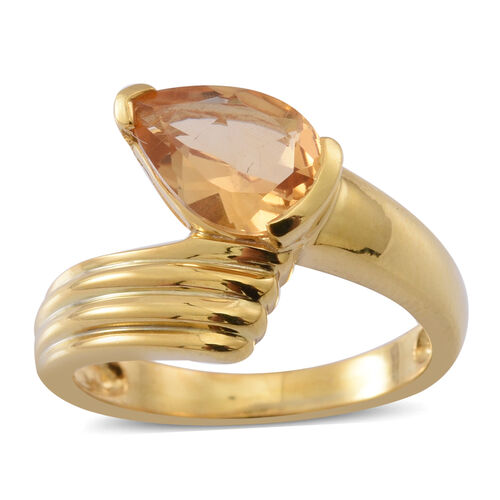 Citrine (Pear) Solitaire Ring in 14K Gold Overlay Sterling Silver 1.750 Ct.