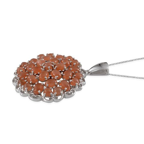Mitiyagoda Peach Moonstone (Ovl), Mozambique Garnet Cluster Pendant With Chain in Platinum Overlay Sterling Silver 12.750 Ct.