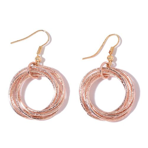 Designer Inspired - Circle Pendant with Chain (Size 28) and Hook Earrings in Yellow and Rose Gold Tone