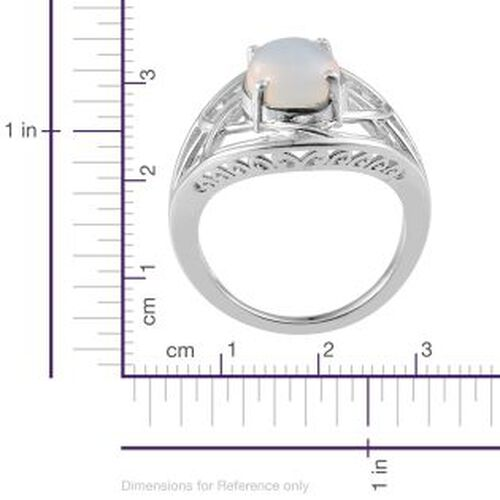 Ethiopian Welo Opal (Ovl) Solitaire Ring in Platinum Overlay Sterling Silver 1.750 Ct.