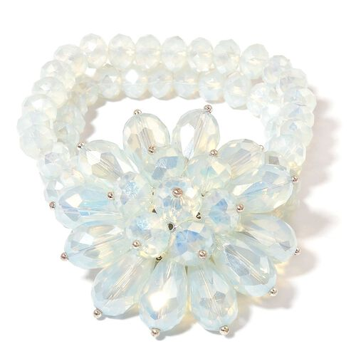 New Arrival - Simulated White Opal Floral Stretchable Bracelet (Size 6.5-9)
