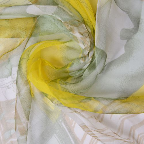 40% Mulberry Silk Yellow and Grey Colour Square Pattern Scarf (Size 170X105 Cm)