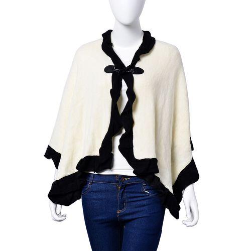 Designer Inspired - Cream and Black Colour Poncho (Size 100x50 Cm)