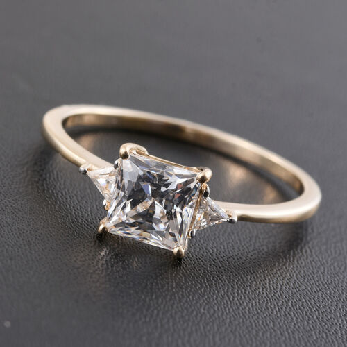 9K Y Gold (Princess Cut) Ring Made with SWAROVSKI ZIRCONIA