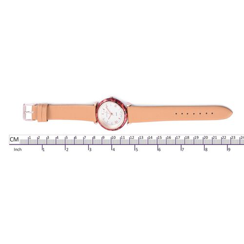 STRADA Japanese Movement White Dial Water Resistant Watch in Rose Gold Tone with Camel Colour Strap