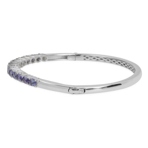 Tanzanite (Ovl) Bangle (Size 8.25) in Platinum Overlay Sterling Silver 4.463 Ct. Silver wt 19.40 Gms.