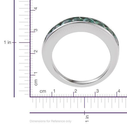 RHAPSODY 950 Platinum AAAA Boyaca Colombian Emerald (Rnd) Half Eternity Band Ring 1.000 Ct.