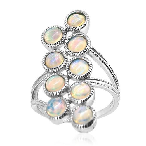 Ethiopian Welo Opal (Rnd) Ring in Rhodium Plated Sterling Silver 2.750 Ct.