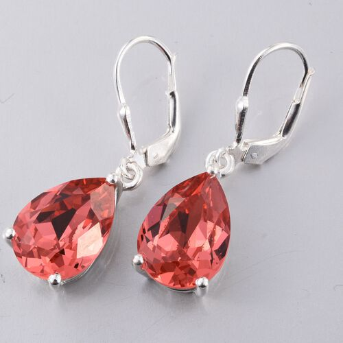 J Francis Crystal from Swarovski - Padparadscha Sapphire Colour Crystal (Pear) Lever Back Earrings in Sterling Silver