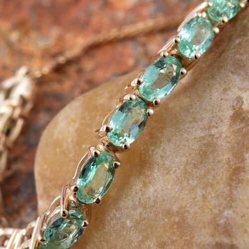 9K Yellow Gold 3.75 Carat Boyaca Colombian Emerald Adjustable Bracelet (Size 6.5 to 9.5)