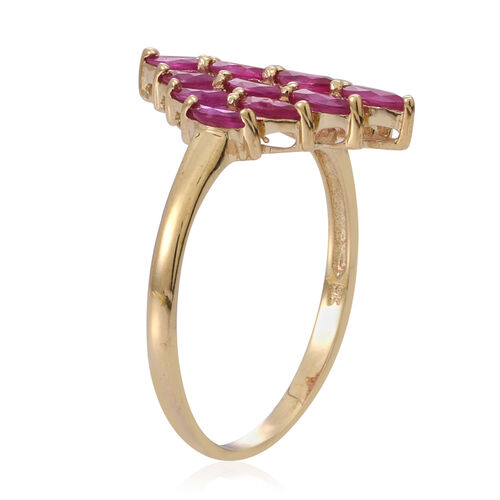 9K Yellow Gold Burmese Ruby (Mrq) Cluster Ring 3.000 Ct.
