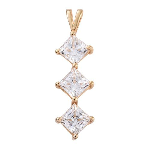 J Francis - 14K Gold Overlay Sterling Silver (Princess) Trilogy Pendant Made with SWAROVSKI ZIRCONIA