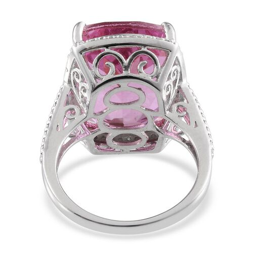 Kunzite Colour Quartz (Cush 20.00 Ct), Diamond Ring in Platinum Overlay Sterling Silver 20.010 Ct.