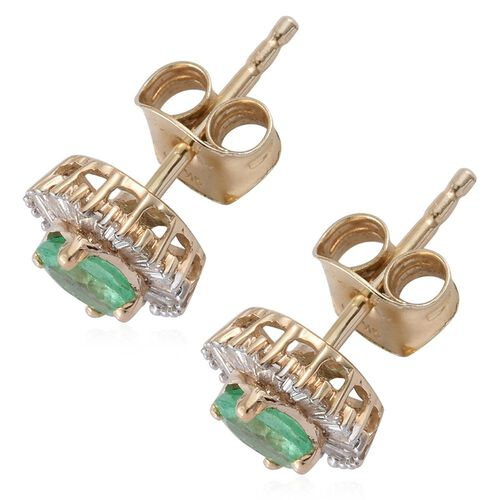 9K Yellow Gold 1 Carat Boyaca Colombian Emerald Halo Stud Earrings (with Push Back) with Diamond I3/G-H