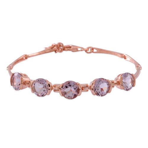 Rose De France Amethyst (Rnd) Bracelet (Size 7.5 with 1 inch Extender) in 14K Rose Gold Overlay Sterling Silver 8.750 Ct.