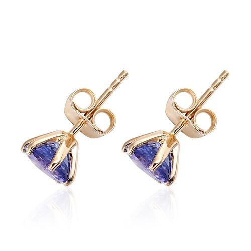 9K Y Gold Tanzanite (Rnd) Stud Earrings (with Push Back) 2.250 Ct.