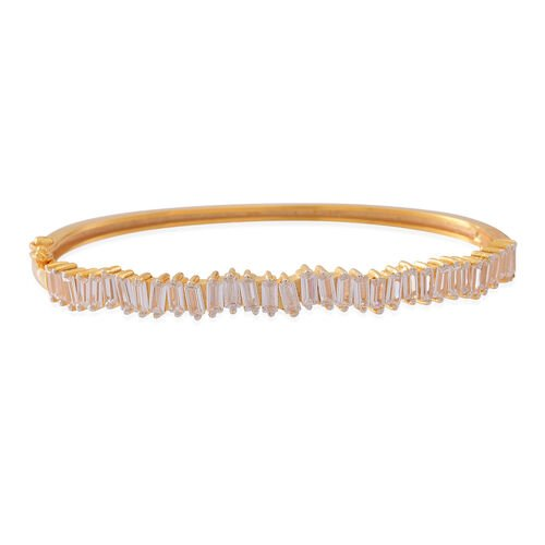 Signature Collection ELANZA AAA Simulated White Diamond (Bgt) Bangle (Size 7) in 14K Gold Overlay Sterling Silver