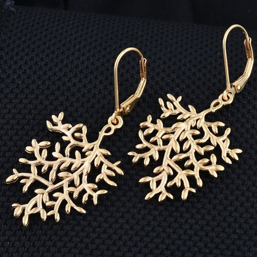 14K Gold Overlay Sterling Silver Lever Back Olive Leaves Earrings, Silver wt 4.88 Gms.