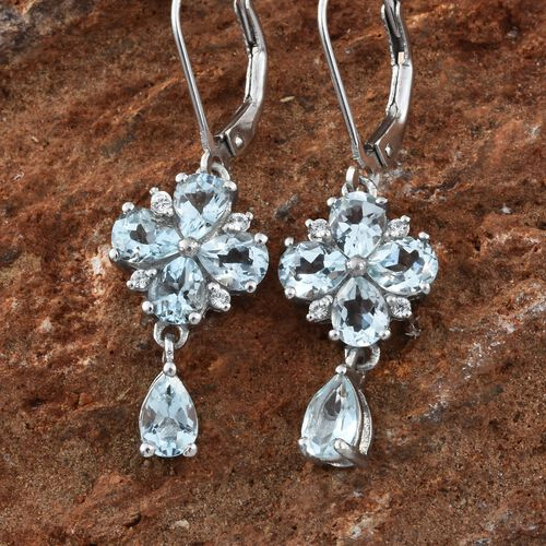 Espirito Santo Aquamarine (Pear), Natural Cambodian Zircon Floral Lever Back Earrings in Platinum Overlay Sterling Silver 3.000 Ct.