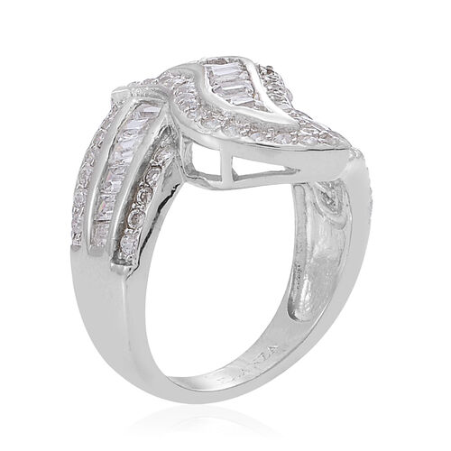AAA Simulated White Diamond (Bgt) Ring in Rhodium Plated Sterling Silver