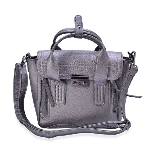 Grey Colour Tote Bag with Adjustable and Removable Shoulder Strap (Size 28x20.5x10 Cm)