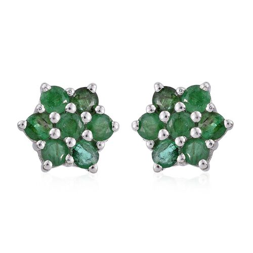 AAA Brazilian Emerald (Rnd) Flower Stud Earrings (with Push Back) in Platinum Overlay Sterling Silver 1.250 Ct.