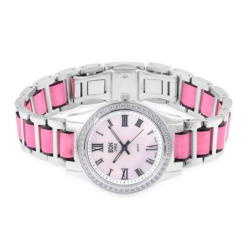 EON 1962 - Swiss Movement Pink Jade, White Topaz and MOP Watch