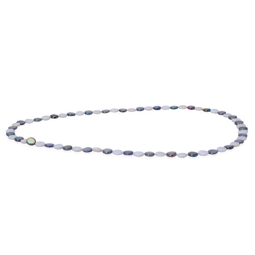 White and Dyed Grey Shell, Simulated White Diamond Necklace (Size 34)  210.000 Ct.
