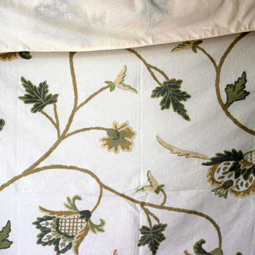 Made in Kashmir-100% Cotton Green, Beige and Cream Colour Floral and Leaves Pattern Woolen Hand Embroidered Cover (Size 160X140 Cm)
