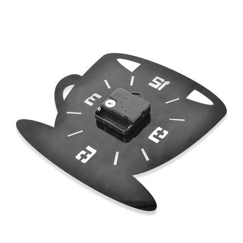Black and  Coffee Mug with Spoon Design Wall Clock