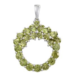 Preview Auction-Hebei Peridot (Pear) Pendant in Platinum Overlay Sterling Silver 5.185 Ct.