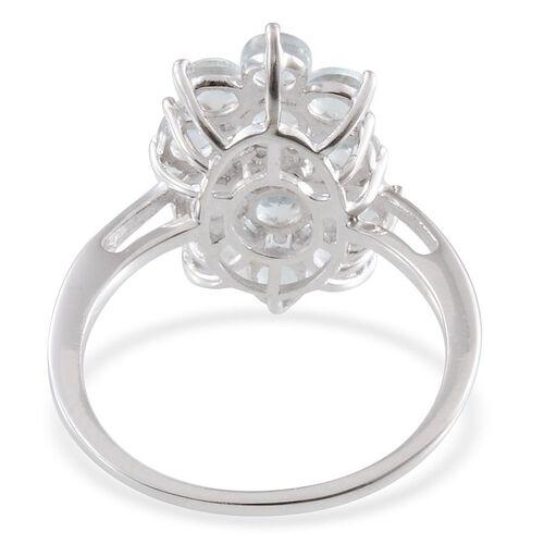 Espirito Santo Aquamarine (Rnd), Diamond Ring in Platinum Overlay Sterling Silver 1.800 Ct.