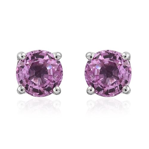 RHAPSODY 950 Platinum 1.25 Ct AAAA Pink Sapphire Solitaire Stud Earrings (with Screw Back)