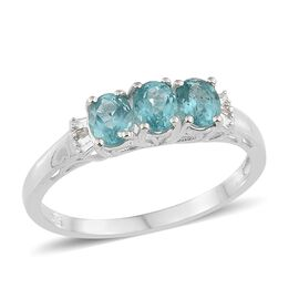 One Time Deal - Paraiba Apatite (Ovl), Diamond Ring in Sterling Silver 1.250 Ct.