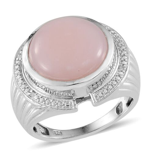 Peruvian Pink Opal (Rnd 5.25 Ct), Diamond Ring in Platinum Overlay Sterling Silver 5.270 Ct.